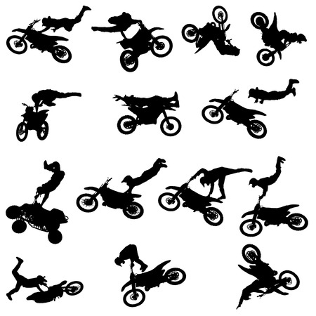 fmx: Vector silhouette of a man with a motorcycle on a white background.