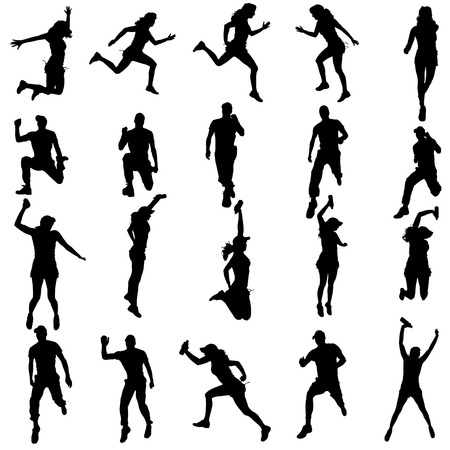 runner silhouette: Vector silhouette of a woman who runs a white background.