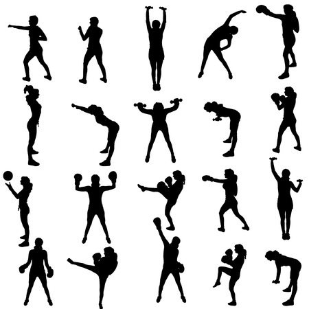 Vector silhouette of a people who practices on white background.  Vector