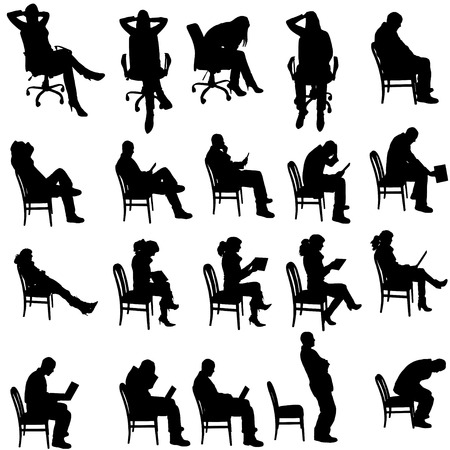 Vector silhouette of people sitting on a white background. Vector