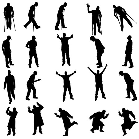crutch: Vector silhouettes of different people on a white background. Illustration