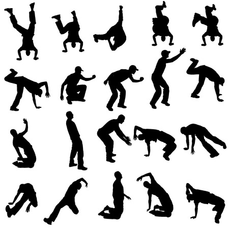 Vector silhouette of people who dance on a white background.  Vector