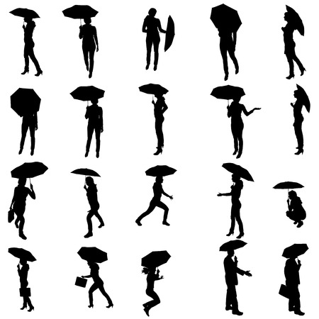 Vector silhouette of people with umbrellas on white background. Vector