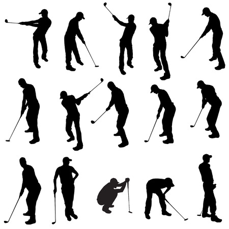 Vector silhouette of a man who plays golf. Illustration