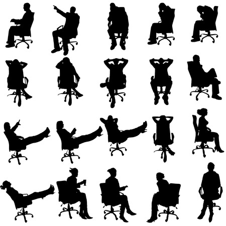 Vector silhouette of business people on a white background. Vector