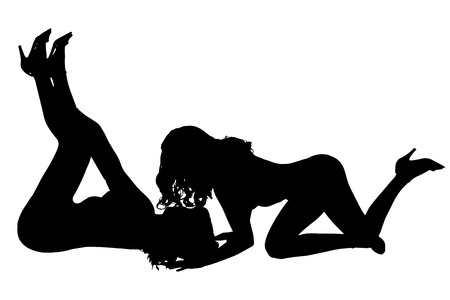 Vector silhouette of women who are lesbians.