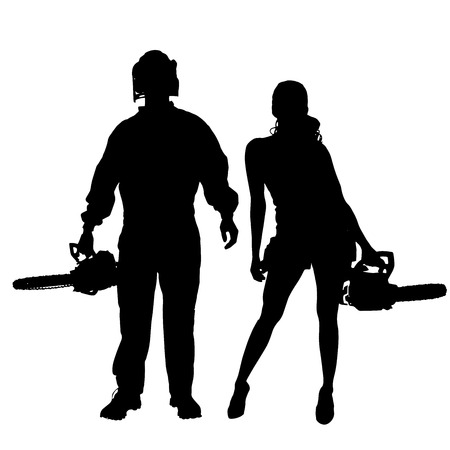 Vector silhouette of a people working with tools on a white background. Vector