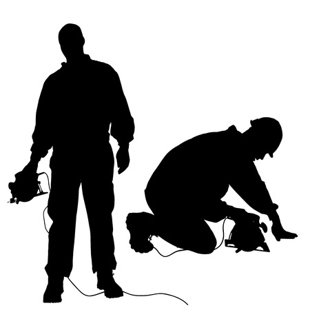 Vector silueta de un hombre que trabaja con herramientas sobre un fondo blanco. Foto de archivo - 27147738