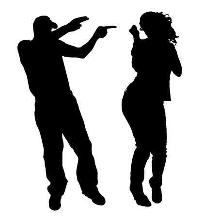 Vector silhouette di persone che ballano su uno sfondo bianco. Archivio Fotografico - 27148223
