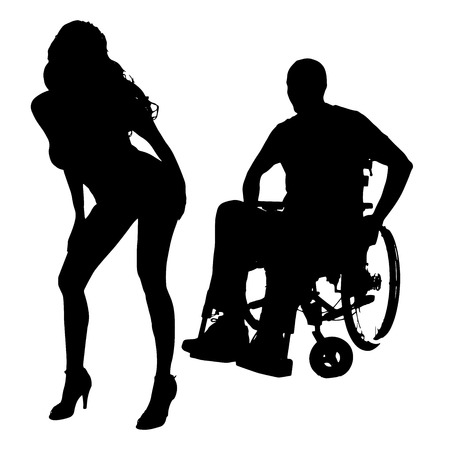 Vector silhouette of a man with a sexy woman on a white background. Illustration