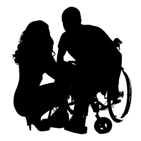 Silhouette vecteur d'un homme avec une femme sexy sur fond blanc.