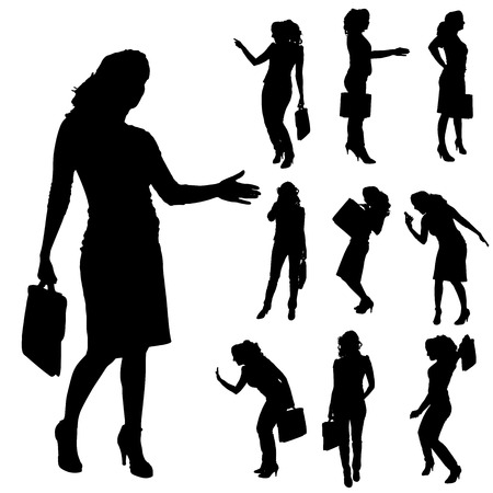 sexy woman silhouette: Vector silhouettes of woman on a white background. Illustration