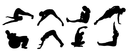 fortalecimiento: Vector silueta de un pueblo que practica en el fondo blanco. Vectores