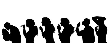glasess: Vector silhouette of people in different situations.