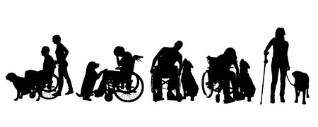 Vector silhouet van mensen met een handicap met een hond op een witte achtergrond.