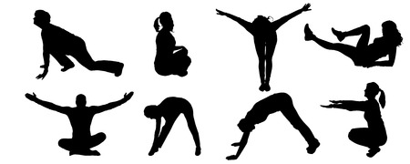strengthening: Vector silhouette of a people who practices on white background.