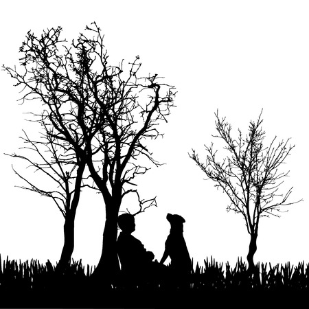 Vector silhouette of a woman with a dog in nature. Vector