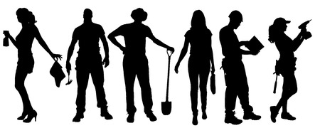 Vector silhouettes of different people on a white background. Illustration