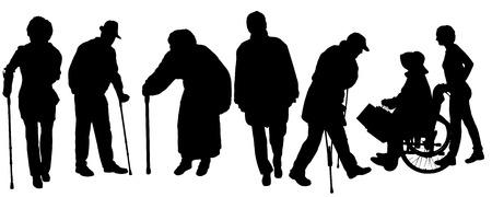 白い背景の上の古い人々 のベクトル シルエット。  イラスト・ベクター素材