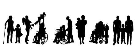 niños discapacitados: Vector siluetas de diferentes personas sobre un fondo blanco.