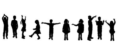 白の背景上の子供のベクトル シルエット。