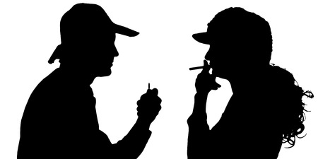 Vector silhouette of people who smoke on a white background. Vector
