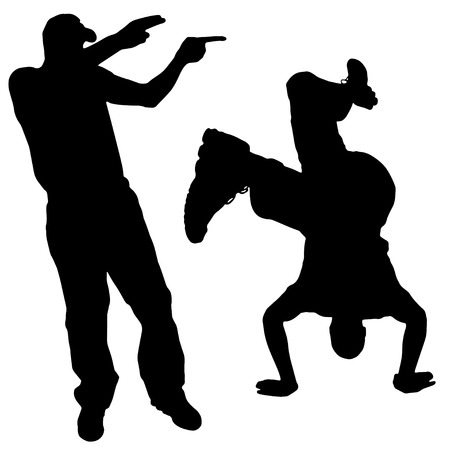dancer silhouette: Vector silhouette of people who dance on a white background.  Illustration