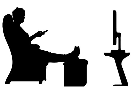 Vector silhouette of a woman who is watching TV.
