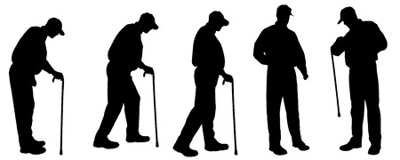 old couple walking: Vector silhouette of old people on a white background.  Illustration