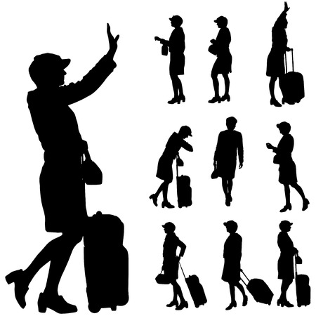Vector silhouette of a woman with a suitcase on a white background. Vector