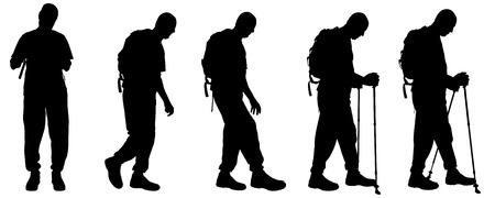 北欧のウォーキングを持つ人々 のベクトル シルエット。