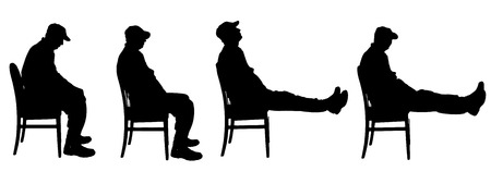 Vector silhouette of a man who is sitting.
