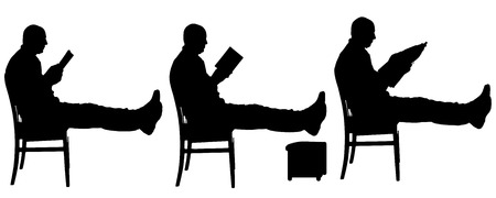 Vector silhouette of a man who reads a book. Vector