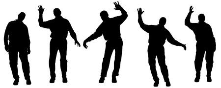 gente bailando: Vector silueta de las personas de edad en un fondo blanco.