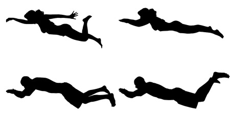 Vector silhouette of a people who swim on a white background. Vector