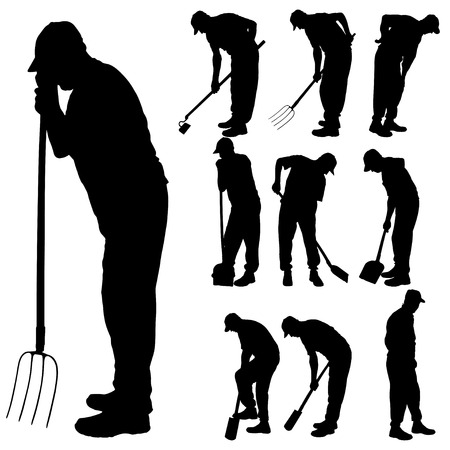 hoe: Vector silhouette of a man with garden tools.