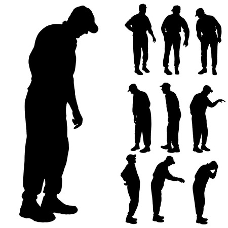 infirm: Vector silhouette of old people on a white background.  Illustration