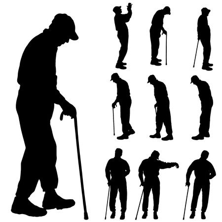 Vector silhouette of old people on a white background.  Illustration