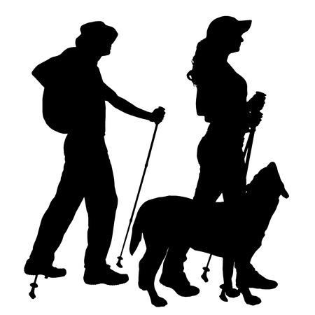 procházka: Vektorové silueta lidí s nordic walking.