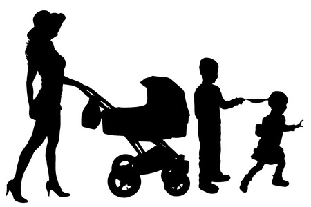 Vector silhouette of a woman with a pram on a white background. Vector