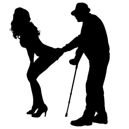 Vector silhouette of a man with a sexy woman on a white background. Vector