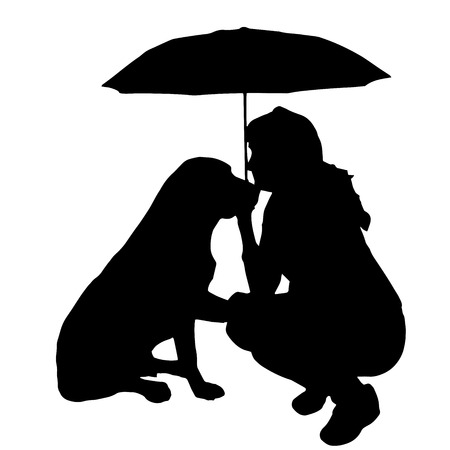 Vector silhouette of the woman with the dog. Vector