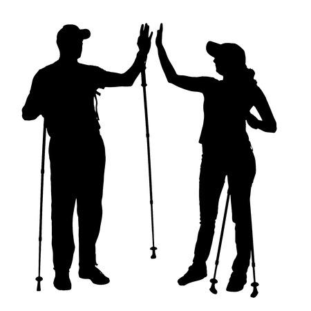 Vector silhouet van mensen met nordic walking. Stock Illustratie