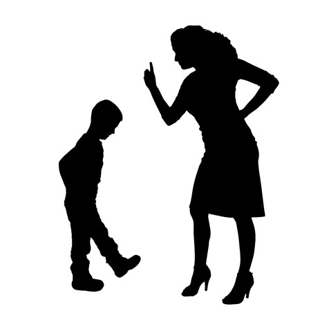 hassle: Vector silhouette of family on a white background.