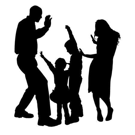 Vector silhouette of people who dance on a white background.  向量圖像