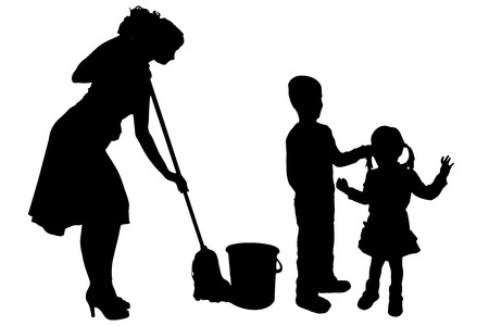 irritate: Vector silhouette of the woman with children.