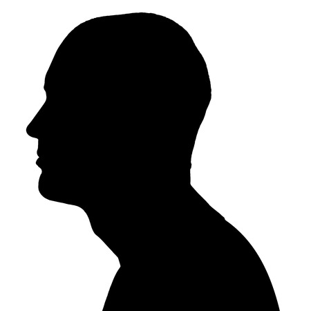 Vector silhouettes man in profile on white background. Illustration