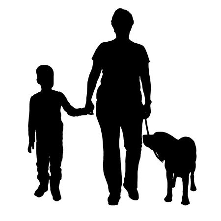 Vector silhouette of the woman with the dog and the child. Vector