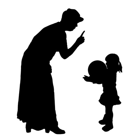 censure: Vector silhouette of an elderly woman with a child.