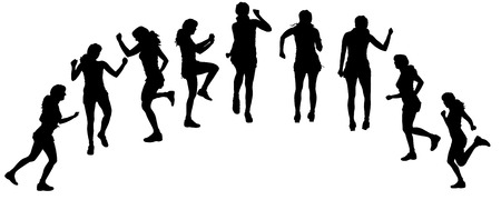 白い背景の練習の女性のベクトル シルエット。  イラスト・ベクター素材